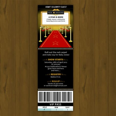 printable hollywood invitation templates hollywood baby shower invitation ticket style a star is