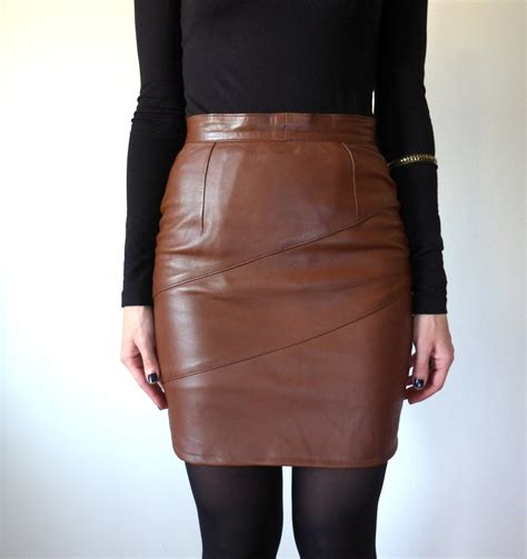 brown high waisted leather skirt vintage mini by