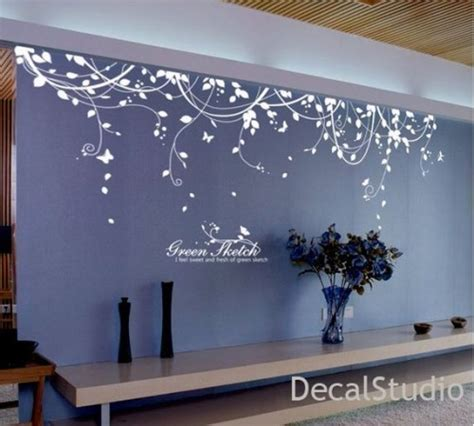living room wall stickers white vinyl sticker wall decal for bedroom living room flower floral decalstudio on artfire