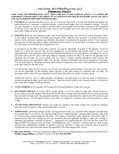 Financial Policy Chiropractic Policies And Procedures Template
