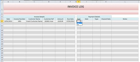 invoice log template free printable invoice