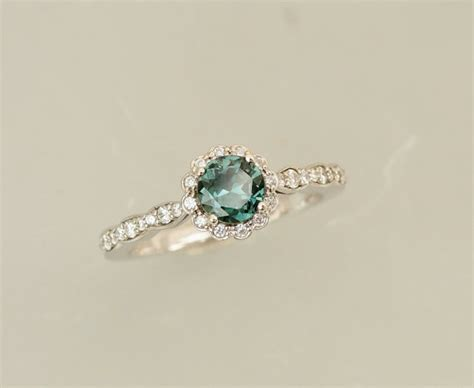 blue green sapphire engagement blue green sapphire engagement ring in 14k white gold