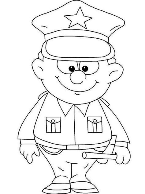thank you coloring page for police officer cute little police officer picture coloring page netart