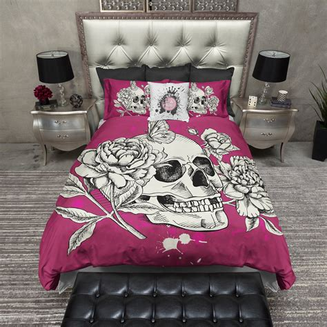 Bright Pink Comforter by Bright Pink Peony And Butterfly Skull Bedding Ink