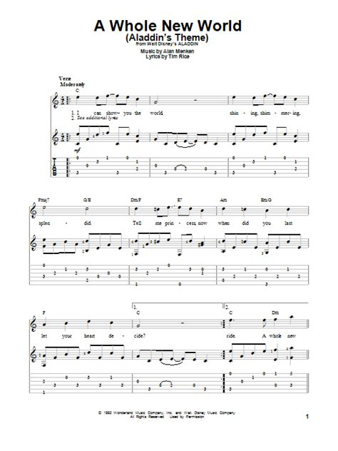 A Whole New World by A Whole New World S Theme Sheet Direct