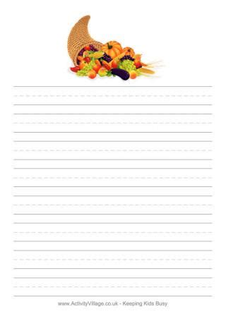 turkey writing paper thanksgiving stationery