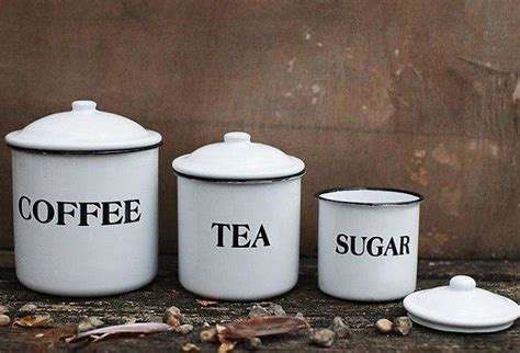 kitchen tea coffee sugar canisters enamel metal coffee tea sugar canisters set of 3