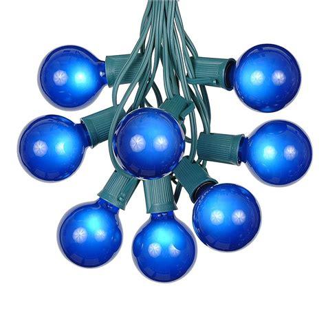 Blue Satin G50 Globe Round Outdoor String Light Set On Globe Light Strings