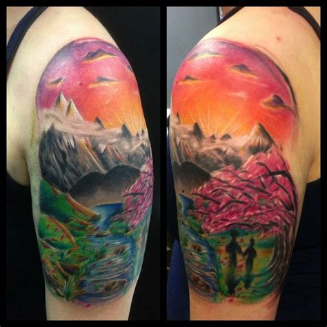 scenery tattoos watercolor scenery on right back shoulder