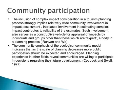 Community Involvement Essay by Community Involvement In Tourism