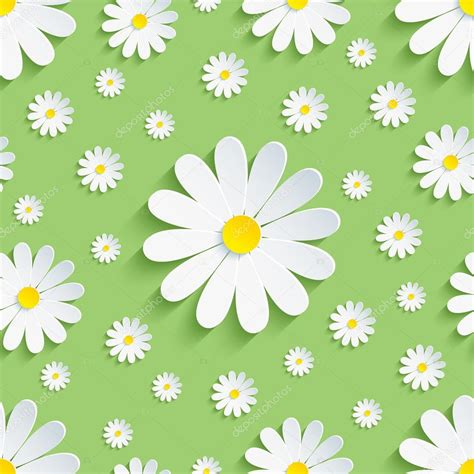 pattern background spring spring green seamless pattern with white chamomile stock