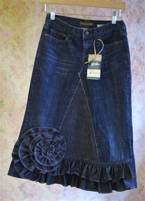 pattern jeans skirt long denim skirt from old jeans cute love the ruffle