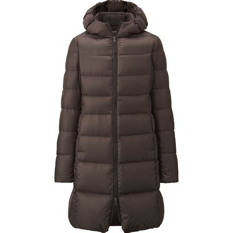 ultra light down coat uniqlo ultra light down hooded coat in brown dark brown