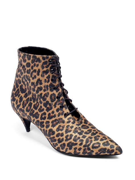 laurent cat leopardprint laceup ankle boots in