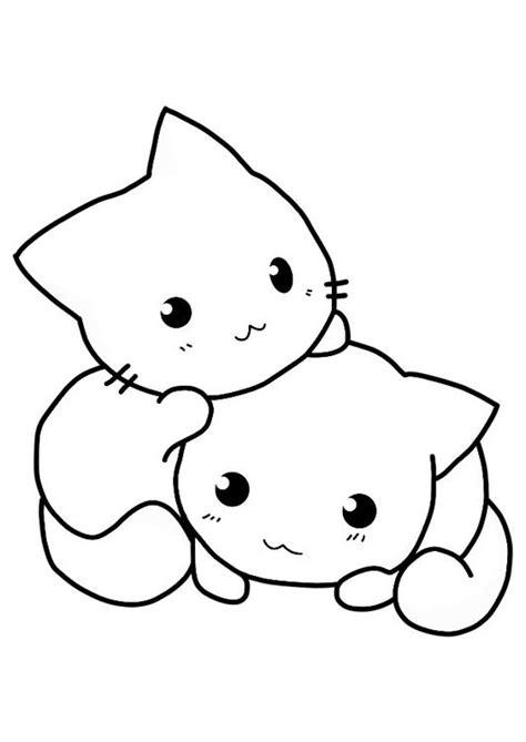 imagenes kawaii para dibujar facil dibujo para colorear gatos cats pinterest dibujo y gatos