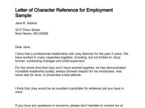 Character Reference Letter By Employer Letter Of Character Reference