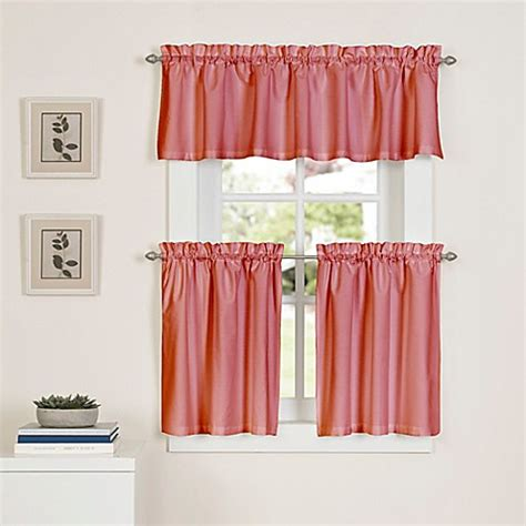 24 Inch Kitchen Curtains Buy Newport 24 Inch Kitchen Window Curtain Tier Pair In Coral From Bed Bath Beyond