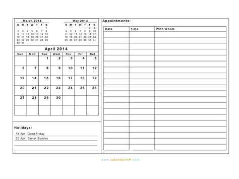 calendar template with notes for everyday landscape hot april 2014 calendar blank printable calendar template in