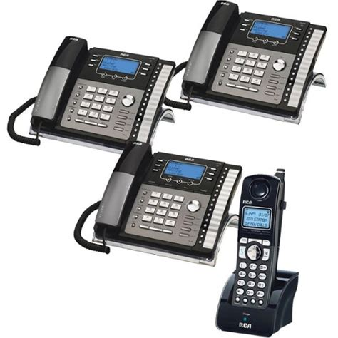 4 Phone System Rca 4 Line Expandable Small Business Phone System With 3 Corded Desk Phones Featuring A Digital