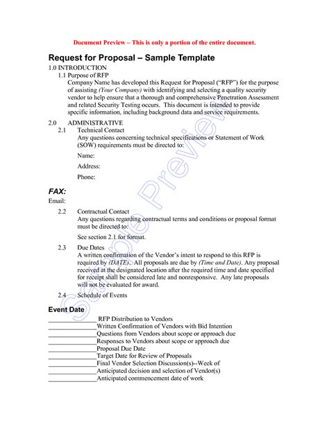 request for bid template sle rfp response template 62 images doc 460595