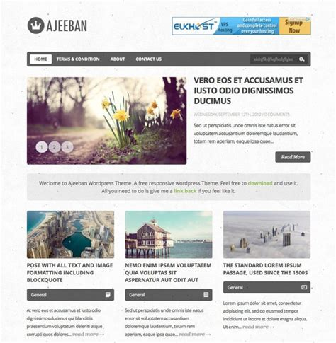 free wordpress blog themes ajeeban free responsive wordpress theme for blog