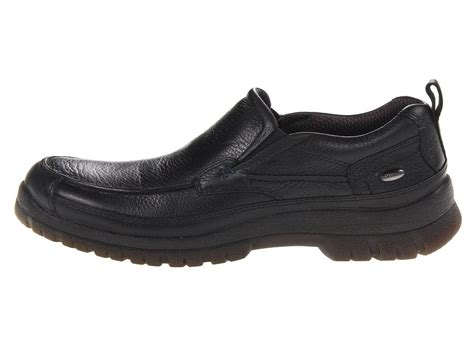 mens hush puppies outclass black leather waterproof slip