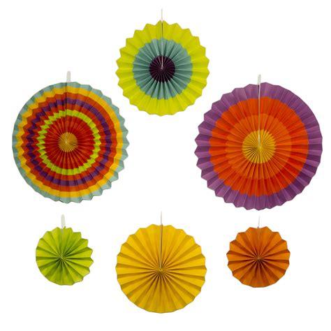 paper fan circle decorations fiesta paper fans decoration 6 colorful yellow orange