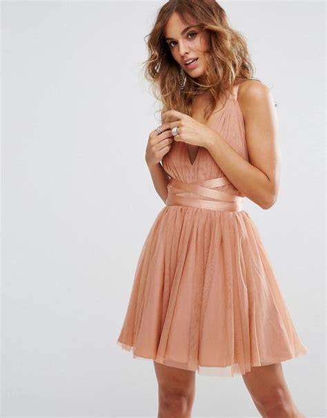 Mini Tulle Dress asos asos premium tulle mini prom dress with ribbon ties