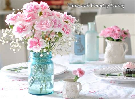 Mason Jar Vases Wedding Decorating With Pink Flowers Town Amp Country Living