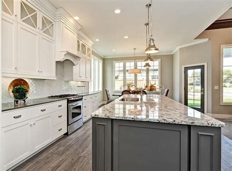 white cabinets with gray granite white kitchen cabinetry with grey accent island chrome