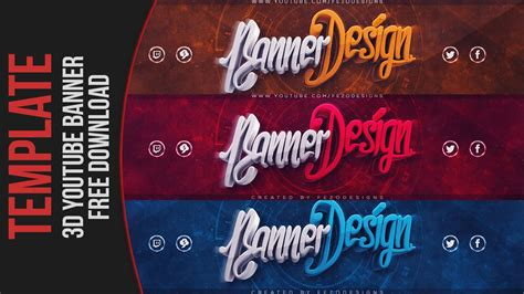 Cool 3d Youtube Banner Template Fezodesigns Free Download Youtube 3d Banner Template