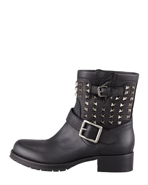short black motorcycle boots valentino noir rockstud short motorcycle boot in black