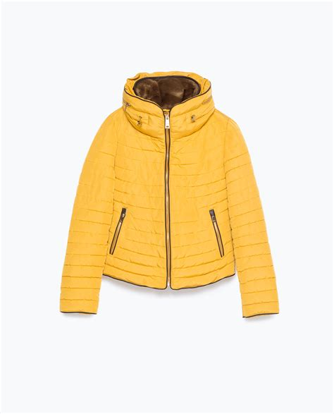 Zara Quilted Coat With by Zara Quilted Coat With Faux Fur Collar In Yellow Lyst