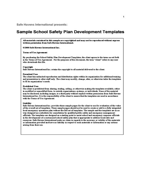 emergency plan template for schools sle school safety plan template free