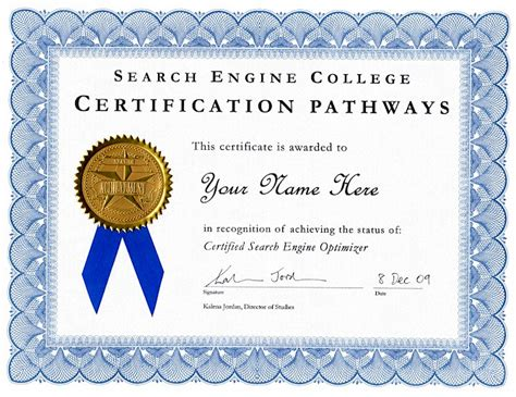 Or Certification Certification Pathways Search Engine College