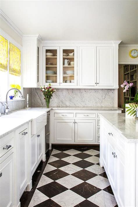 white and black harlequin kitchen floors transitional