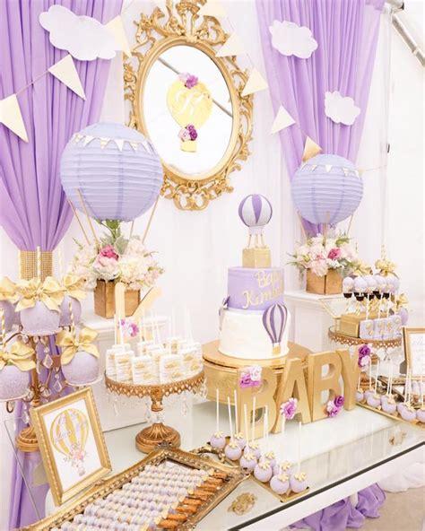 Purple Baby Shower Ideas by Kara S Ideas Purple Gold Air Balloon Baby
