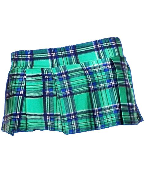 green mini plaid skirt ml 25074 green