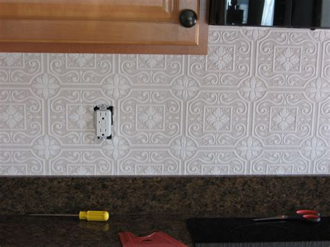 wallpaper for kitchen backsplash fake it frugal fake punched tin backsplash