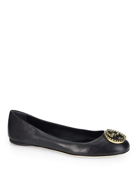 shoes flats black gucci leather logo ballet flats in black lyst