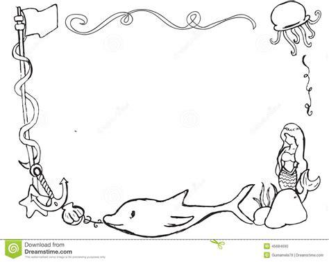 hand drawn ocean themed border frame stock illustration