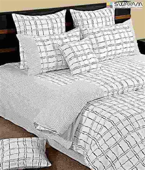 grid bed sheets swayam black white grid pattern double bed sheet with