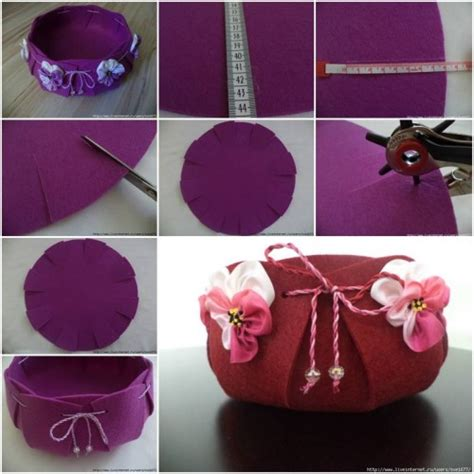 Handmade Crafts Tutorials - how to make beautiful felt basket step by step diy