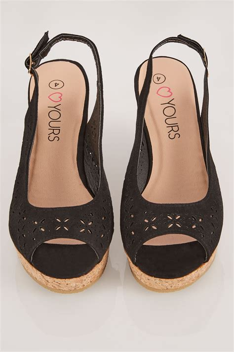 C772 Black Sling Bag schwarz bequeme sohle wedge sandalen in eee breite passform