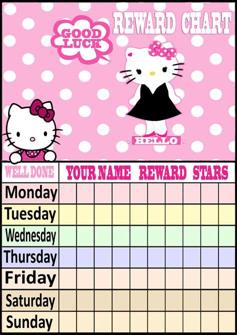 printable reward charts hello kitty best photos of printable reward charts for girls