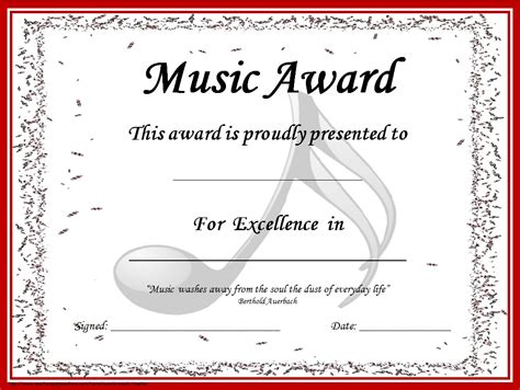 templates for awards and certificates music certificates editable music award certificates