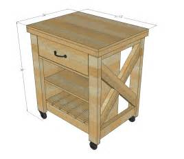 white rustic x small rolling kitchen island diy