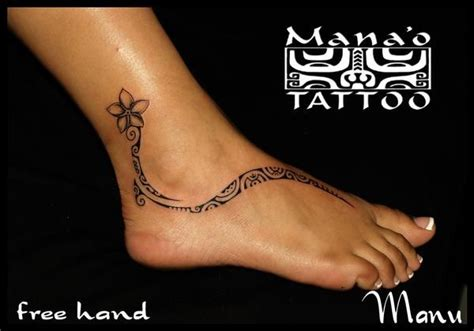 ankle tribal tattoo polynesian foot tatau poly tatt