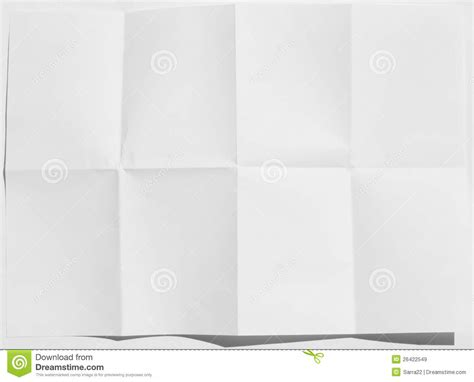 Folding Paper 8 Times - wrinkled fold white sheet of paper texture stock image