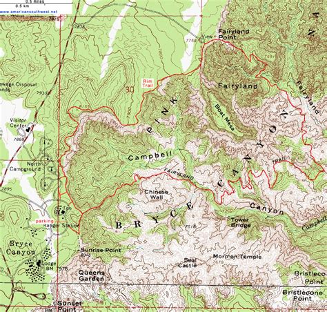 bryce hiking map popular 266 list bryce map